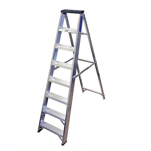 Industrial And General Purpose Aluminium Ladder 8 Steps Open Height 1.7m Silver