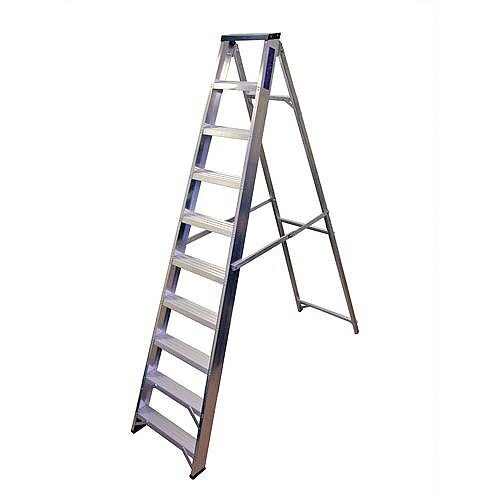 Industrial And General Purpose Aluminium Ladder 10 Steps Open Height 2.17m Silver