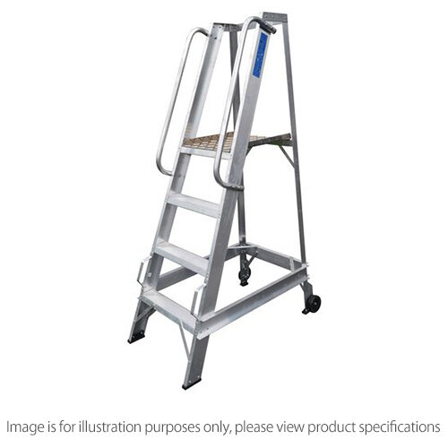 Aluminium Warehouse Steps Max Height Max 1585Mm To Platform 1000Mm 4 Steps Inc Platfrom
