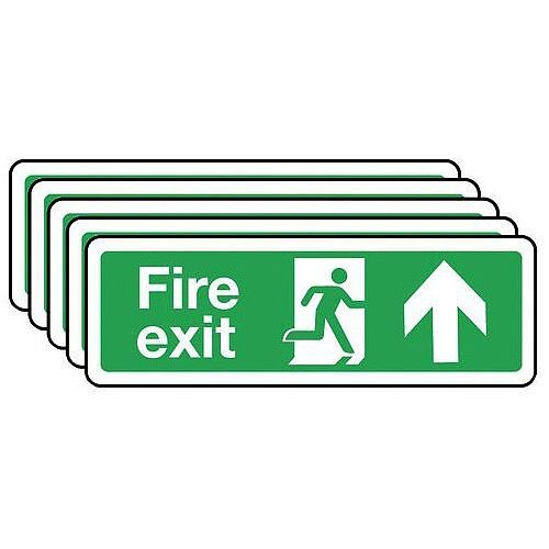 Self Adhesive Vinyl Fire Exit Arrow Up Sign Multi-Pack of 5