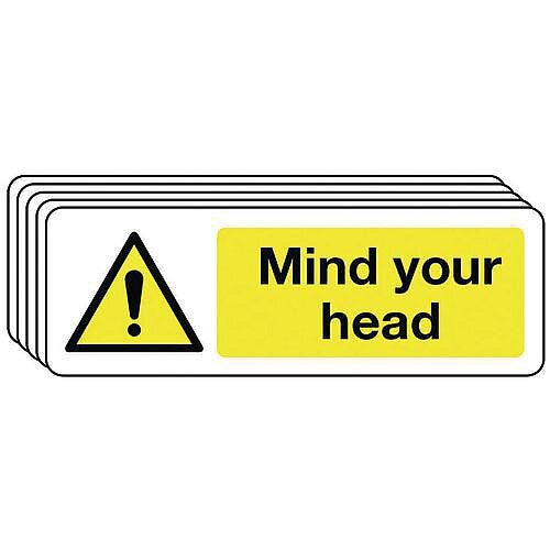 Self Adhesive Vinyl Mind Your Head Warning Sign Multi-Pack of 5
