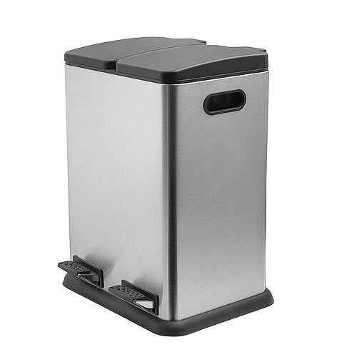 Stainless Steel 40L Waste Recycling Bin Two Compartment 2 x 20L