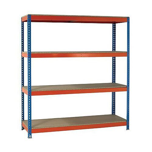 2.5m High Heavy Duty Boltless Chipboard Shelving Unit W1800xD1200mm 500kg Shelf Capacity With 4 Shelves - 5 Year Warranty