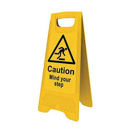 Heavy Duty Pre Printed A Board Caution Mind Your Step 620x300mm Ref 394567