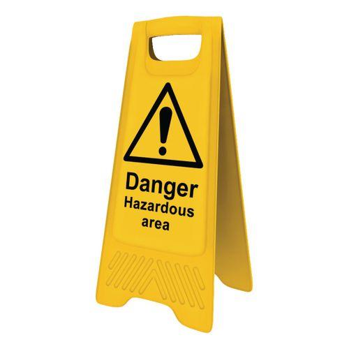 Heavy Duty Pre Printed A Board Danger Hazardous Area 620x300mm Ref 394574