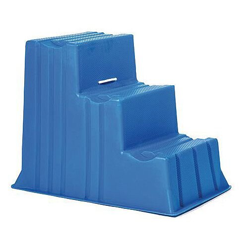 Lightweight Plastic Static Steps 3 Tread Blue