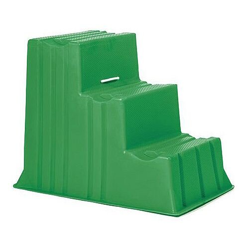 Lightweight Plastic Static Steps 3 Tread Green