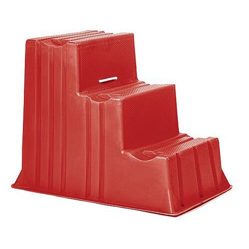 Lightweight Plastic Static Steps 3 Tread Red
