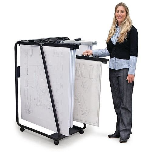 Mobile Plan Filing Trolley For 20 Binders Or 3000 A1 Sheets