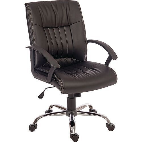 Milan Leather Look Executive Office Chair Black