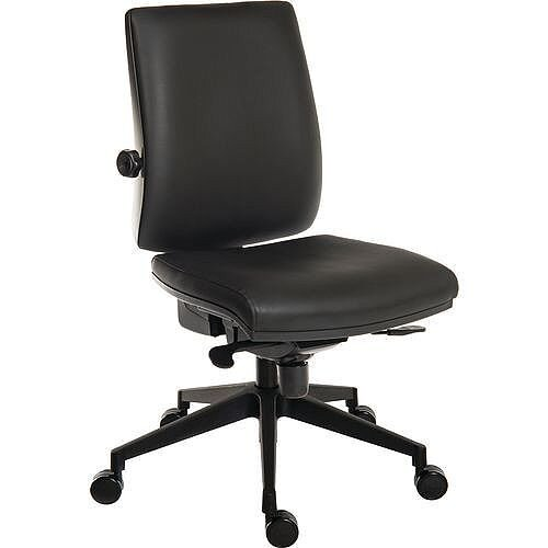 24 Hour Executive Ergonomic Task Operator Office Chair Leather Look With Plastic Base