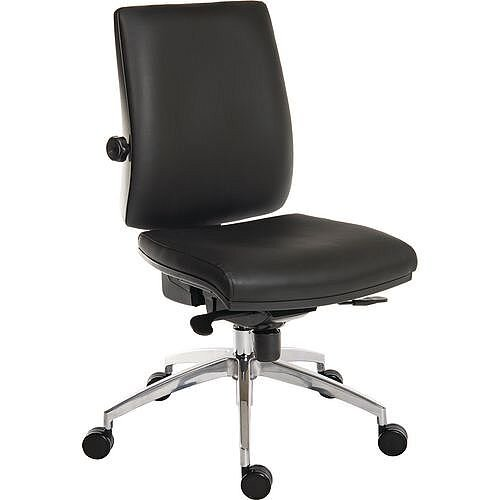 24 Hour Executive Ergonomic Task Operator Office Chair Leather Look With Aluminium Base