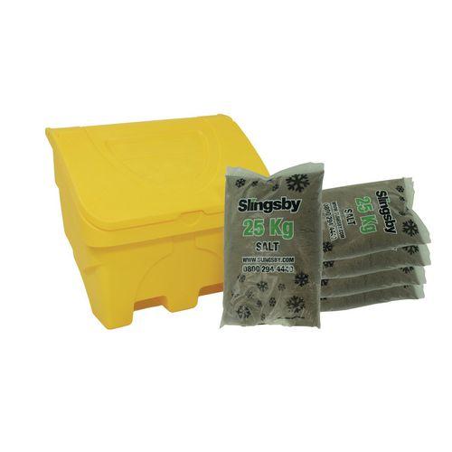 Midi 130L Salt Grit Bin Grit Bin &5x25Kg Bags Brown Rock Salt