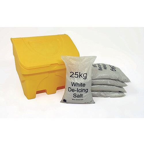 Midi 130L Salt Grit Bin Grit Bin &5x25Kg Bags White De-Icing Salt