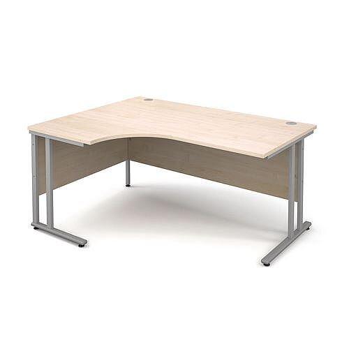 Silver Frame 1600mm Left Hand Ergonomic Desk Maple