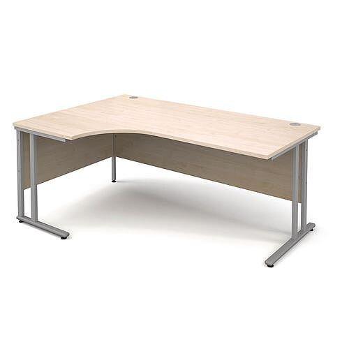 Silver Frame 1800mm Left Hand Ergonomic Desk Maple
