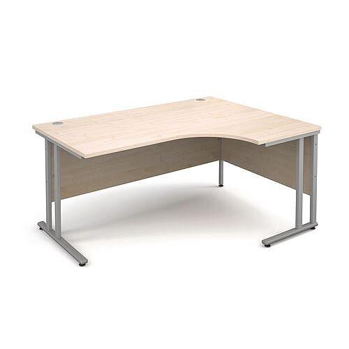 Silver Frame 1600mm Right Hand Ergonomic Desk Maple