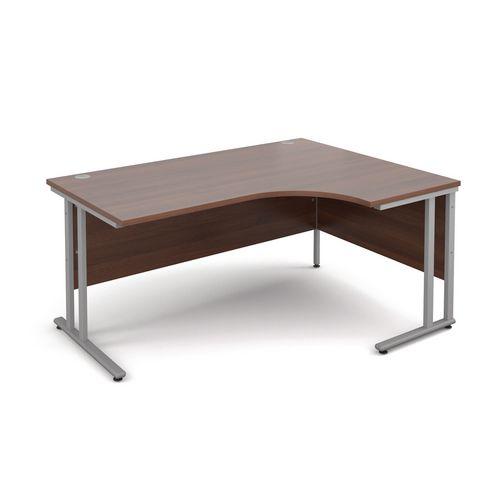 Silver Frame 1600mm Right Hand Ergonomic Desk Walnut