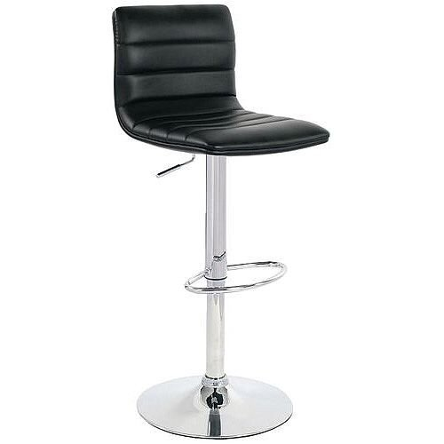 Leather Bar Stool With Back Support Black
