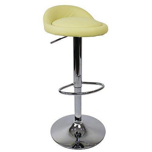 Round Leather Seat Stool Cream
