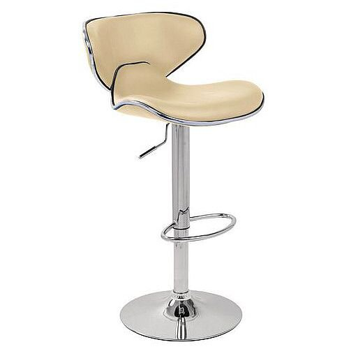 Curved Leather Bar Stool Cream