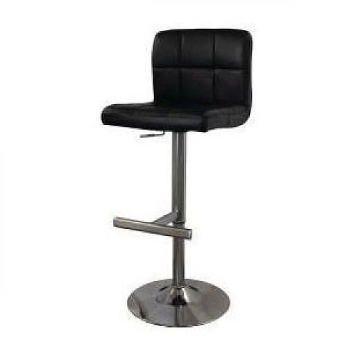 Brushed Steel Bar Stool Black