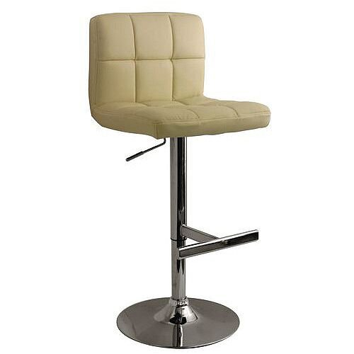 Brushed Steel Bar Stool Cream