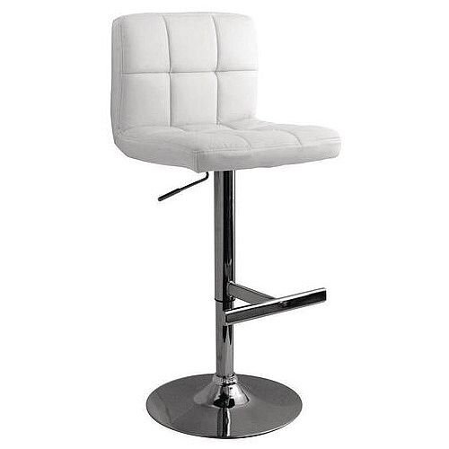 Brushed Steel Bar Stool White