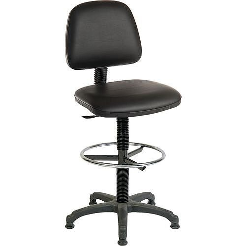 ERGO BLASTER Medium Back Draughter Chair H720 - 850mm Black Leather-Look Vinyl Seat
