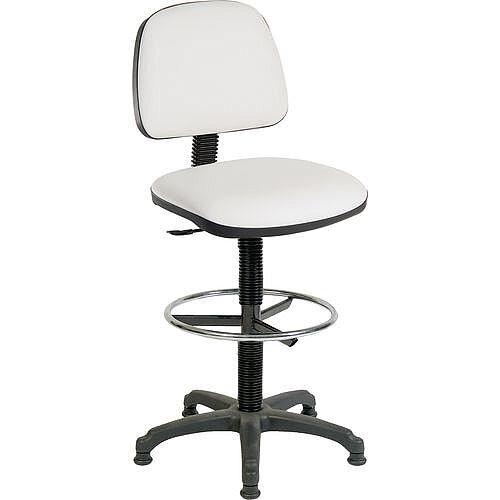 ERGO BLASTER Medium Back Draughter Chair H720 - 850mm White Leather-Look Vinyl Seat