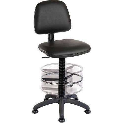 ERGO BLASTER Deluxe Medium Back Draughter Chair H600 - 860mm With Adjustable Foot Ring Black Leather-Look Vinyl Seat