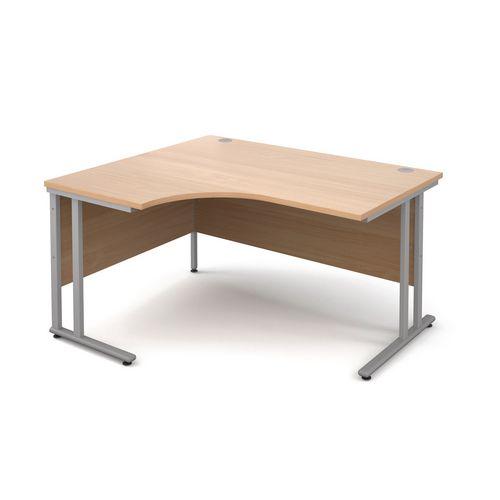 1400mm Left Hand Ergonomic Desk In Beech 25mm Top & Silver Cantilever Double Upright Legs