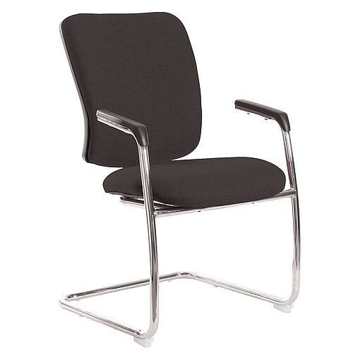 Senza Visitors Chair In Charcoal Chrome Frame With Integral Arms &Arm Pads