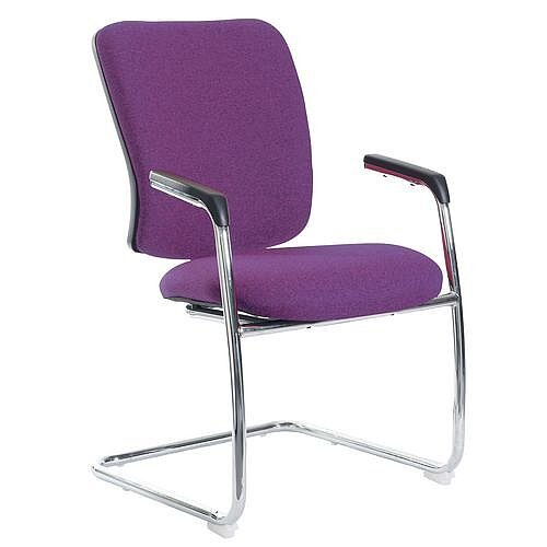 Senza Visitors Chair In Purple Chrome Frame With Integral Arms &Arm Pads