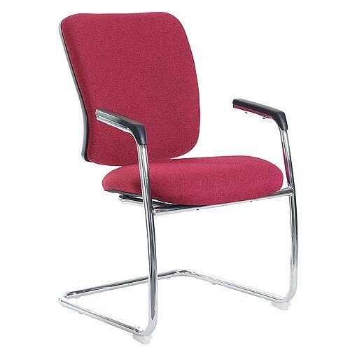 Senza Visitors Chair In Wine chrome Frame With Integral Arms &Arm Pads