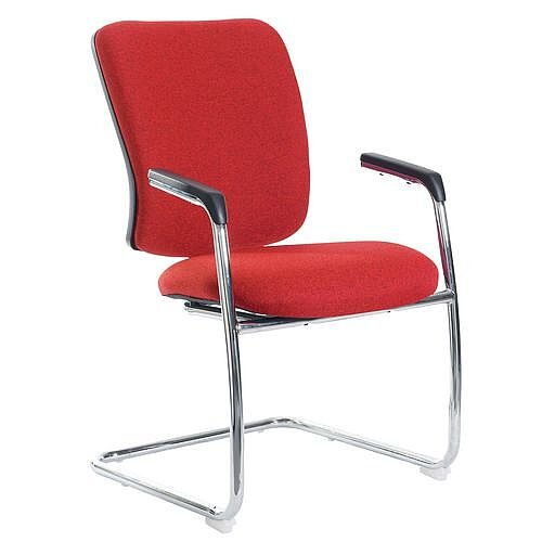 Senza Visitors Chair In Red Chrome Frame With Integral Arms &Arm Pads