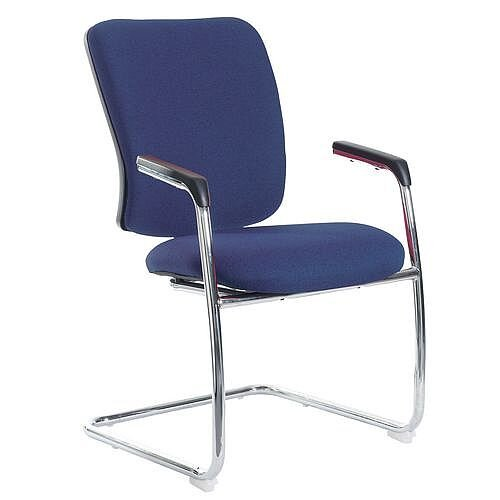 Senza Visitors Chair In Cobalt Chrome Frame With Integral Arms &Arm Pads