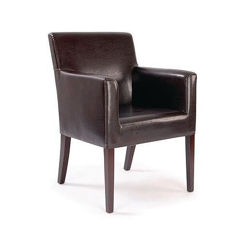 Metro Brown Leather Effect Cubed Armchair With White Stitching