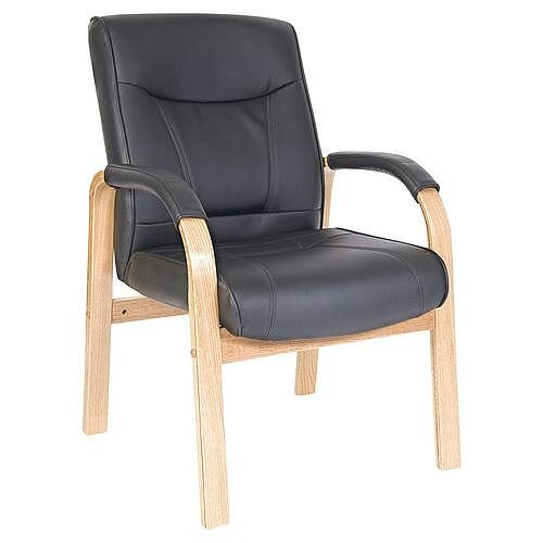 Kingston Leather Visitor Waiting Chair Light Wood