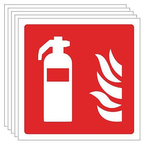Rigid PVC Plastic Fire Extinguisher Pictorial Sign Multi-Pack of 5