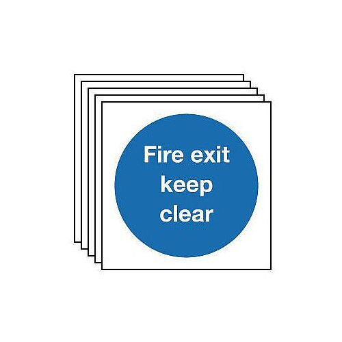 Rigid Plastic Fire Exit Keep Clear Sign Multi-Pack of 5 H x w mm: 200 x 200