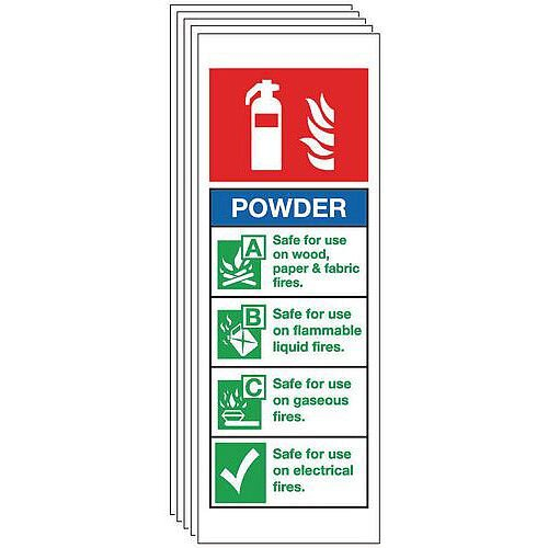 Rigid PVC Plastic Dry Powder Extinguisher Sign Multi-Pack of 5