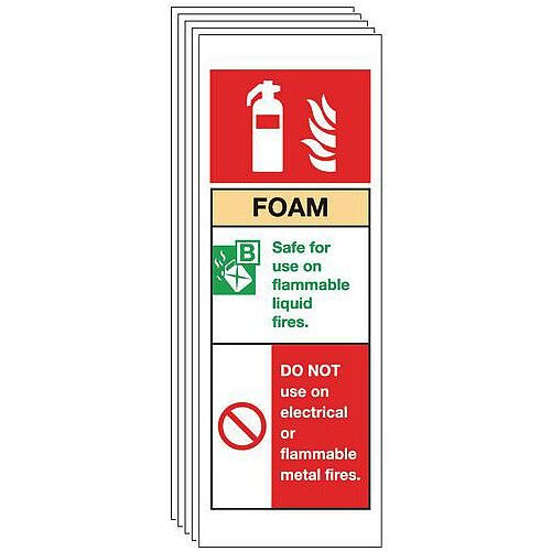 Rigid PVC Plastic Foam Extinguisher Sign Multi-Pack of 5