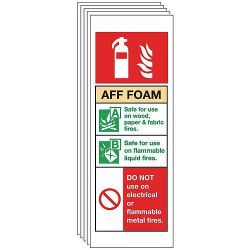 Self Adhesive Vinyl Aff Foam Extinguisher Sign Multi-Pack of 5