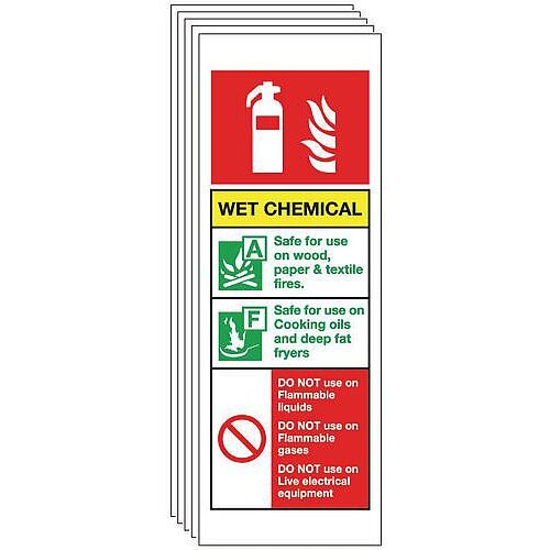 Self Adhesive Vinyl Chemical Extinguisher Sign Multi-Pack of 5