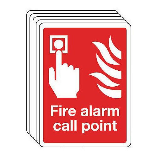 Rigid PVC Plastic Fire Alarm Call Point Sign Multi-Pack of 5