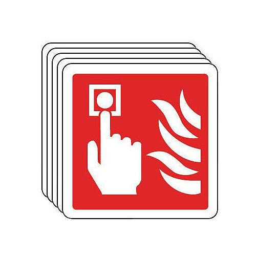 Self Adhesive Vinyl Fire Alarm Pictorial Sign Multi-Pack of 5