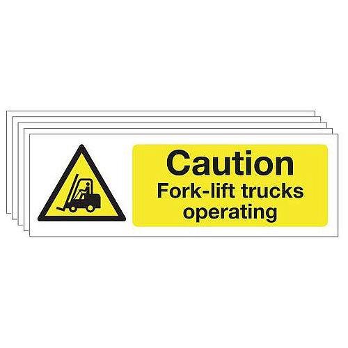 Rigid PVC Plastic Caution Fork-Lift Trucks Warning Sign Multi-Pack of 5