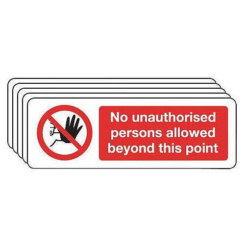 Rigid PVC Plastic Access Prohibition Sign Multi-Pack of 5