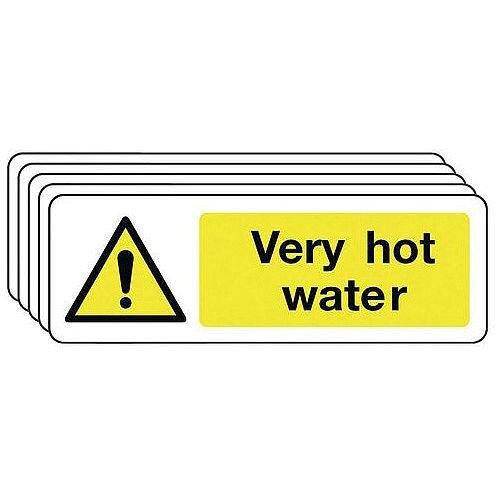 Rigid PVC Plastic Very Hot Water Warning Sign Multi-Pack of 5